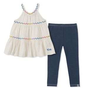 Lucky Brand Denim White Blouse Matching Set 2T NEW